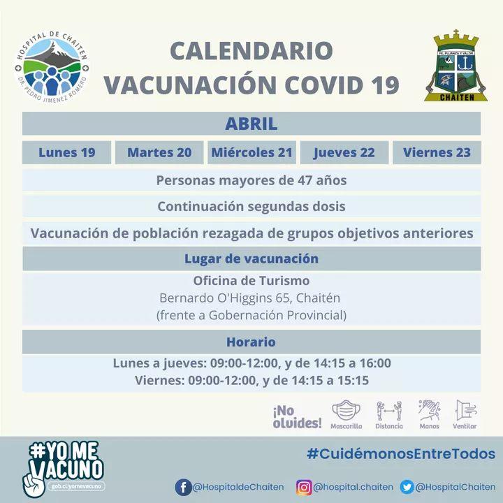 Calendario de vacunación de la semana del lunes 19 al viernes 23 de abril.