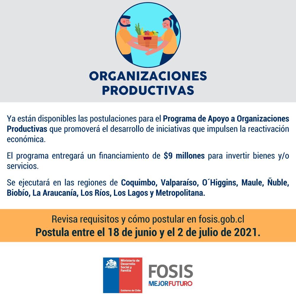 FOSIS Abre Postulaciones Para Organizaciones Productivas